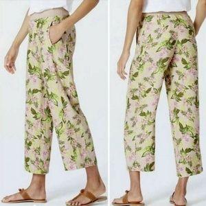 J Jill Love Linen Floral Tropical Print Cropped
